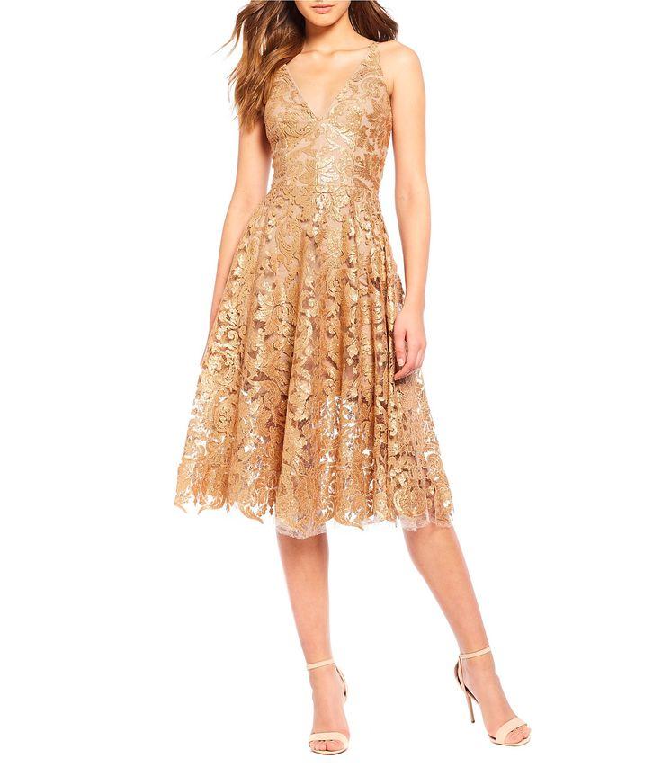 Dress the Population Blair Deep V-Neck Sequin Lace Midi Dress #Dillards