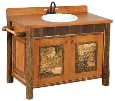 Old Faithful Vanity W/ Birchbark Accents
