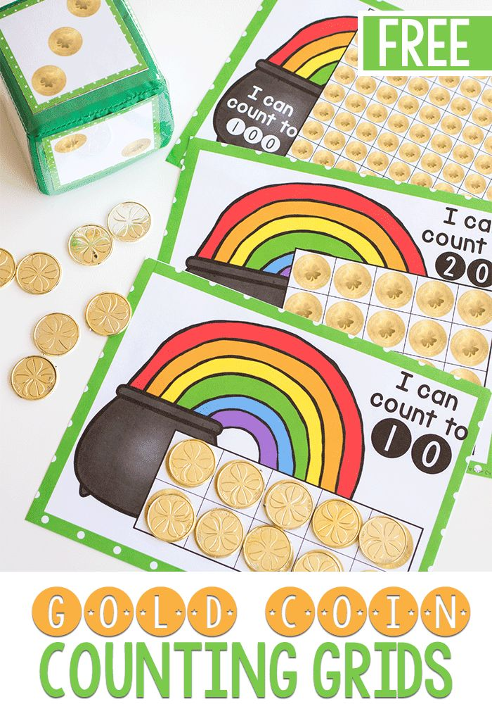 Kids will love counting with these free printable coin games! Grab these math counting grids for 10, 20 and counting to 100 for a low-prep spring math activity.