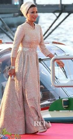 Sheikha Mozah of Qatar wearing a gown by Valentino
