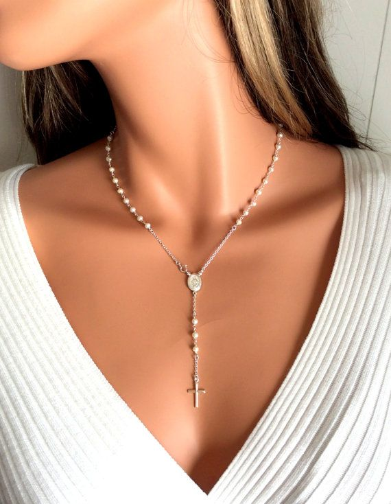 Pearl Rosary Necklace Women Cross Silver Rosaries Sterling Silver Freshwater Pearls Cross Spiritual Faith on Etsy, $85.00