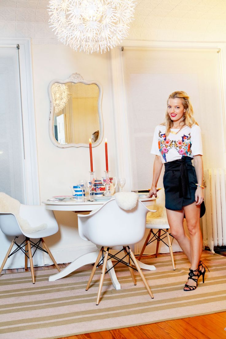 """7 Holiday Outfits From Lucky's Senior Fashion Editor #refinery29  http://www.refinery29.com/eleanor-strauss#slide30  """"I love the combination of a dressy skirt with a cool tee for any evening 'do. My daughter Honor made the bracelet...Pamela Love, watch out!"""""""