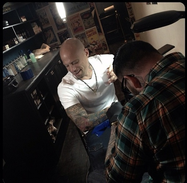Tattooing my friend Ami James from Miami Ink and NY Ink
