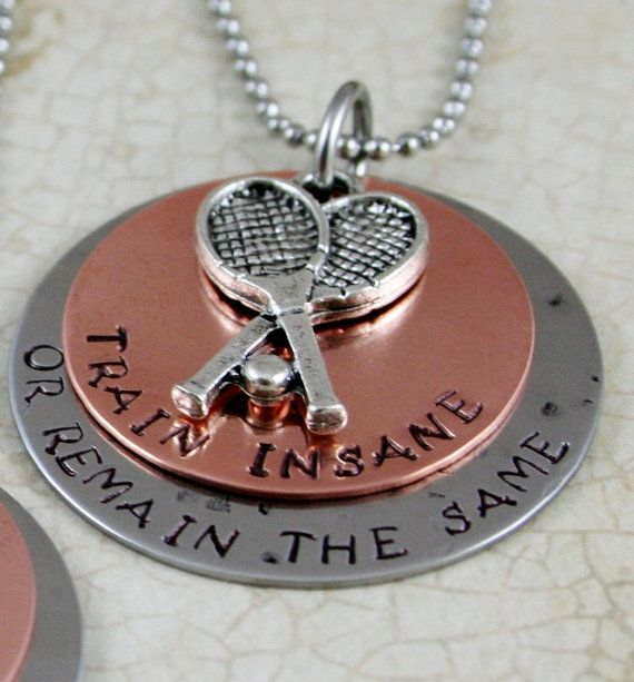"""Personalized Tennis Necklace Name necklace   """"Train Insane or Remain the Same"""" Tennis Jewelry Sports Training Necklace Handstamped Necklace on Etsy, $32.00"""