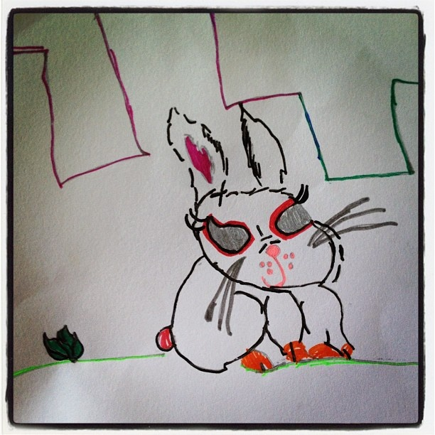 'Evil Rabbit' by Maya (8yr old free artist) - @justbeingarlyn- #webstagram
