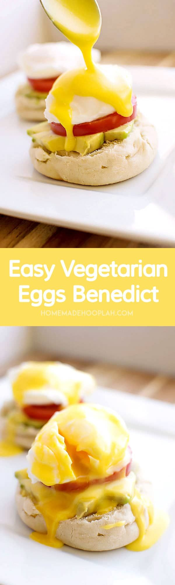 Easy Vegetarian Eggs Benedict! Skip the morning rush at the restaurant and make delicious Eggs Benedict at home - vegetarian style! Poached eggs with light seasoning, avocado, and tomato. | HomemadeHooplah.com