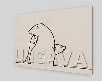 Collection Ungava: La famille d'ours polaires de la Baie Ungava. Peinture numérique originale imprimée sur bois.