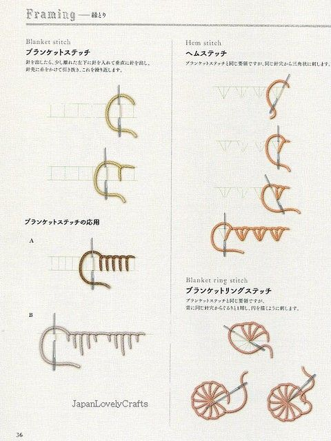 Embroidery Basic Stitches Lesson Japanese by JapanLovelyCrafts