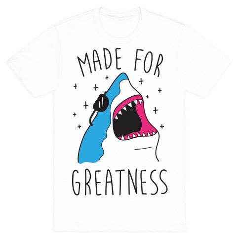 You were made for greatness with your fantastic skills and personality! Show off your shark love with this animal pun design featuring an illustration of a great white shark with shades on! Perfect for shark jokes, shark puns, greatness quotes, and feeling confident and great!