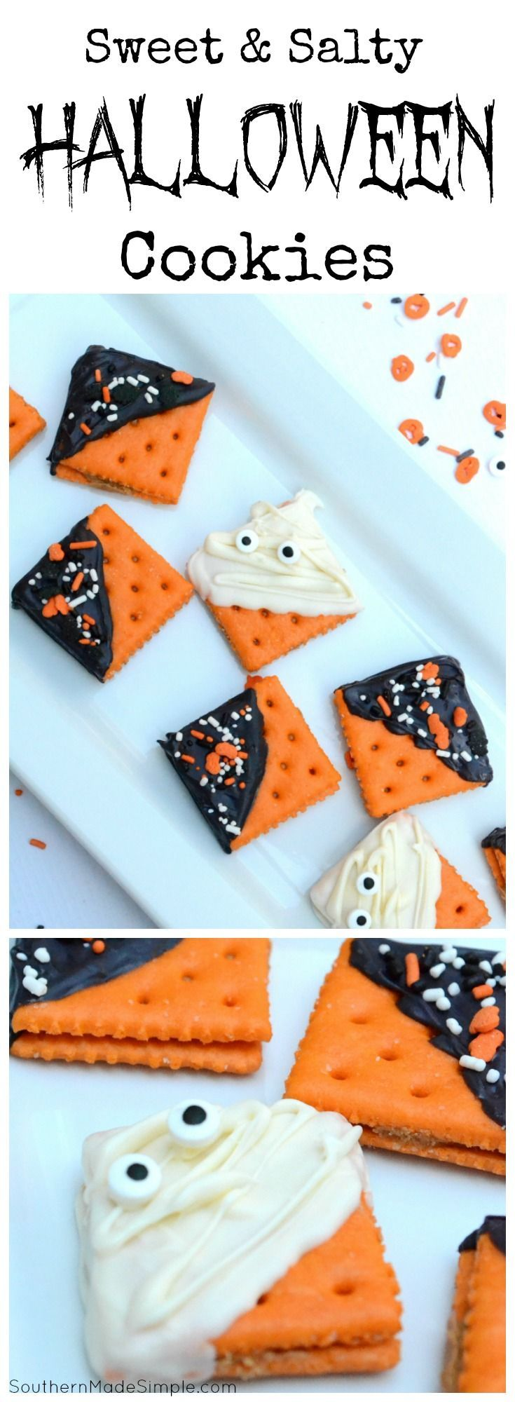 These fun sweet & salty Halloween cookies are fun to make and even more fun to eat! Plus, they only take about 5 minutes to make!