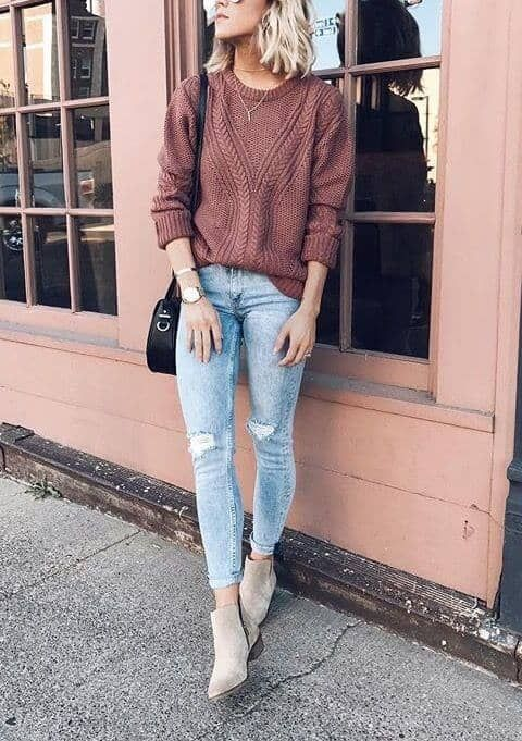 6243db1d537a4 Tan Suede And Ripped Jeans #falloutfit #fallfashion #womanfashion # ankleboots