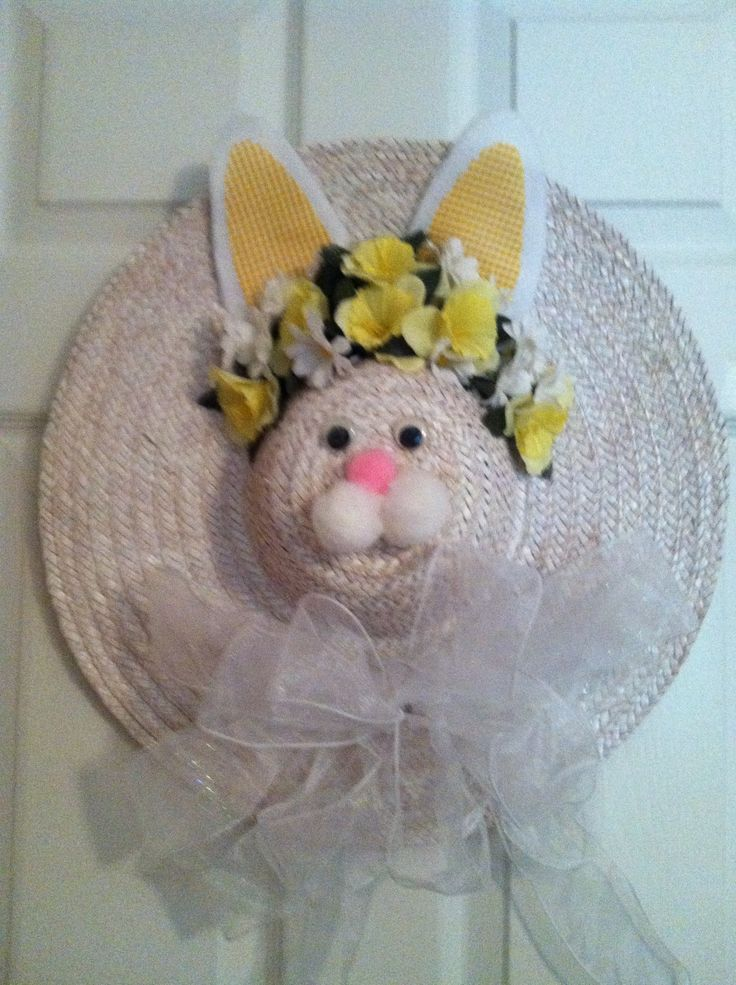 Easter Bunny Made From Straw Hat Easter Easter Wreaths