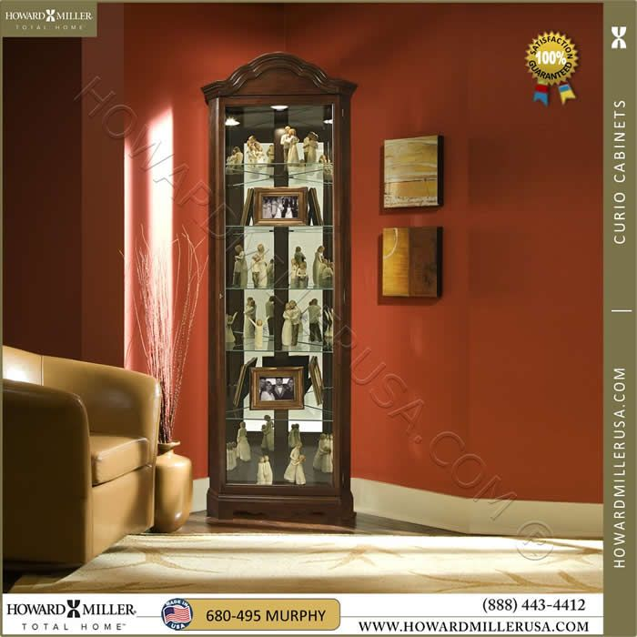680495 Cherry Corner Curio Cabinet By Howard Miller Display This Bordeaux