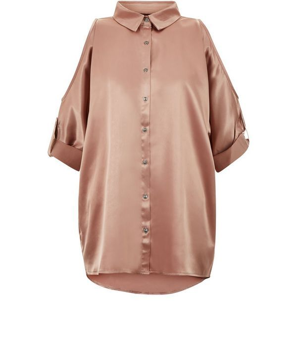 Parisian Sateen Shell Pink Cold Shoulder Blouse | New Look