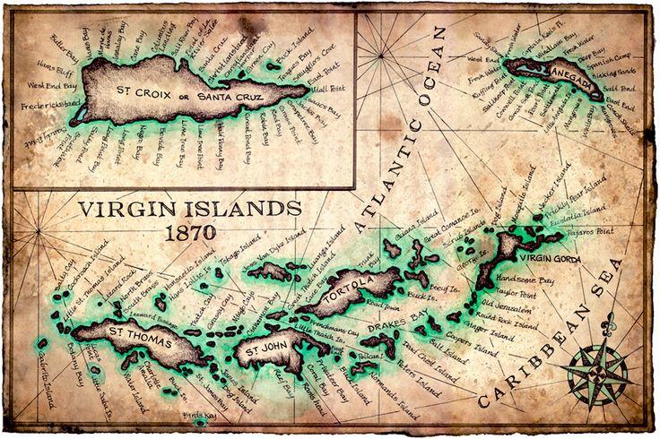 virgin islands map art print c 1780 st john st croix