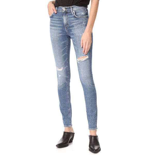 AGOLDE Sophie High Skinny Jeans ($160) ❤ liked on Polyvore featuring jeans, anthem, high-waisted skinny jeans, distressed jeans, high waisted jeans, blue ripped skinny jeans and blue jeans