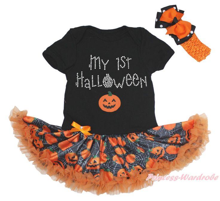 Мой 1-ый хэллоуин черный комбинезон девушки паутина тыквы детское платье комплект NB-18M MAJSA0740