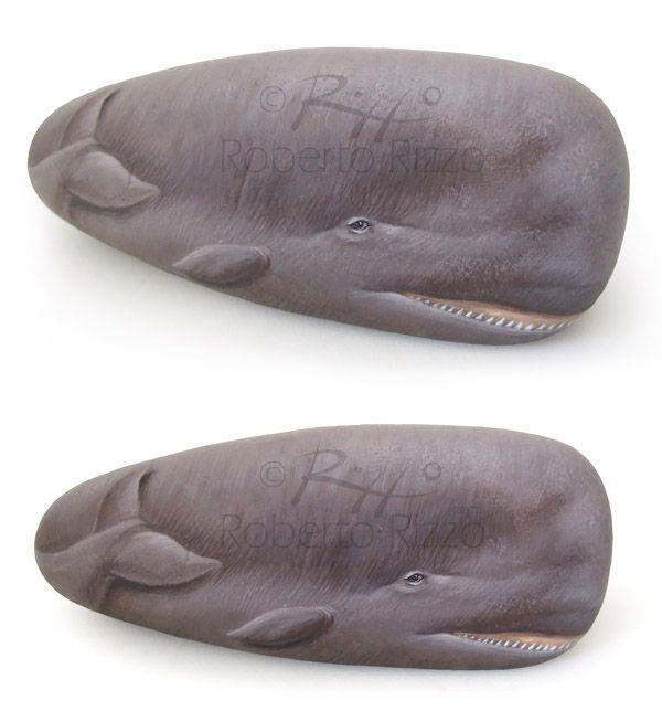 Sperm Whale - acrylic on rock by Roberto Rizzo | www.robertorizzo.com