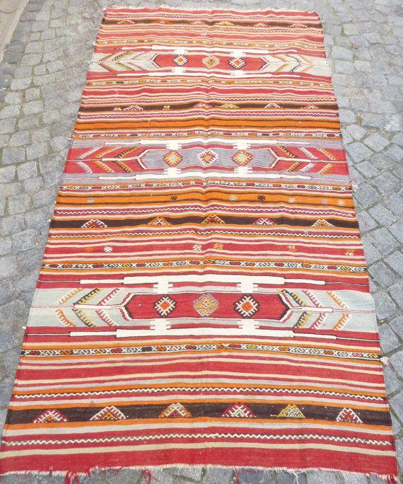 Striped Turkish Kilim Rug Rustic Home Decor by PillowTalkOnEtsy