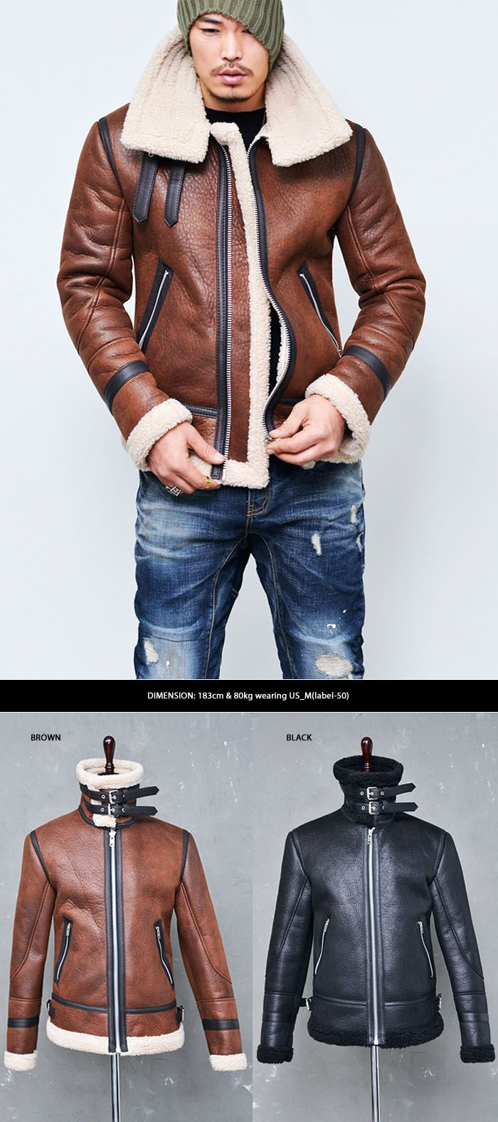 Outerwear :: Leather Jackets :: Double-belt Buffalo Highneck Flight Jacket-Leather 76 - Mens Fashion Clothing For An Attractive Guy Look