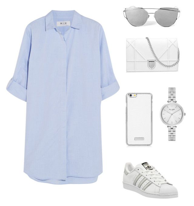 """""""Fashion #012"""" by stark-mclearen ❤ liked on Polyvore featuring M.i.h Jeans, adidas, Kate Spade, white, Blue and superstar"""