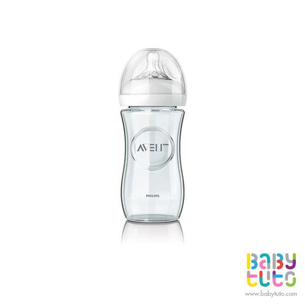 Mamadera de vidrio natural. 240 ml, $11.990 (precio referencial). Marca Avent: bbt.to/1H5RA0Z