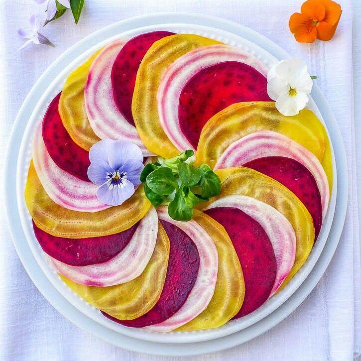 Carpaccio de betteraves multicolores