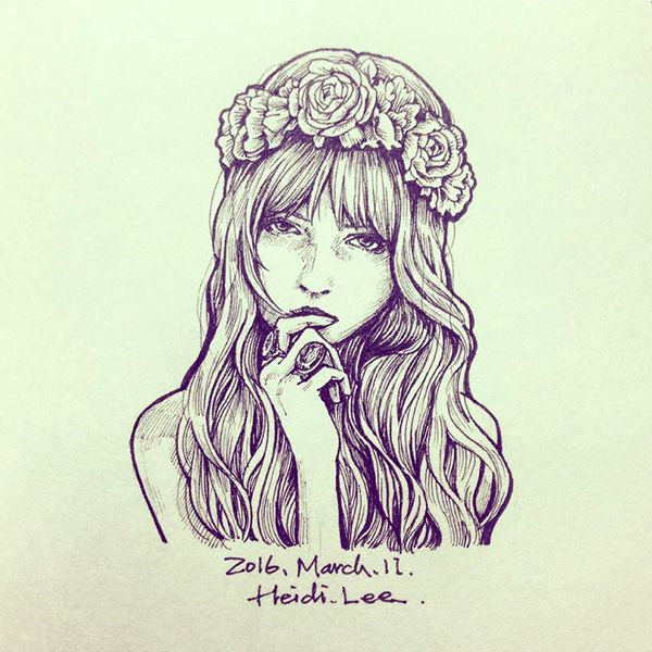 #crown #flowers #girl #art #illustration #drawing #painting #doodle #pen #ink