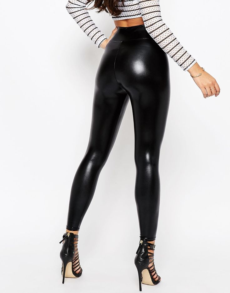 Image 2 of ASOS High Waisted Ultra Wet Look Leggings