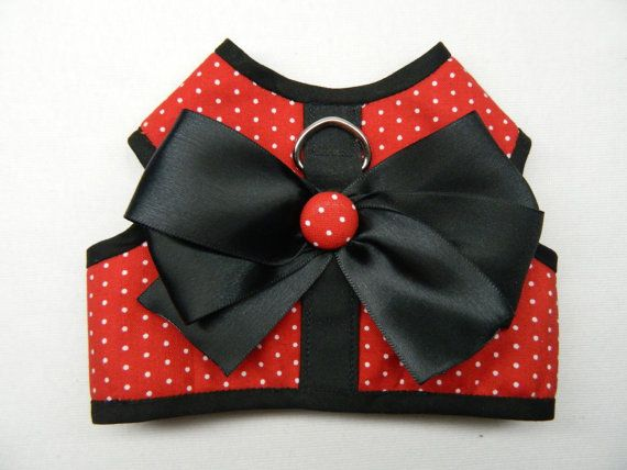 Red with white polka dot dog harness XS by OneDogGoneCuteShop