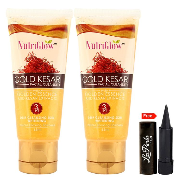Nutriglow+Gold+Kesar+Facial+Cleanser+with+Golden+Essence+and+kesar+extracts+|+Contains:-+1+Facial+Cleanser+Plus+1+Free+Laperla+Kajal+Price+₹63.00