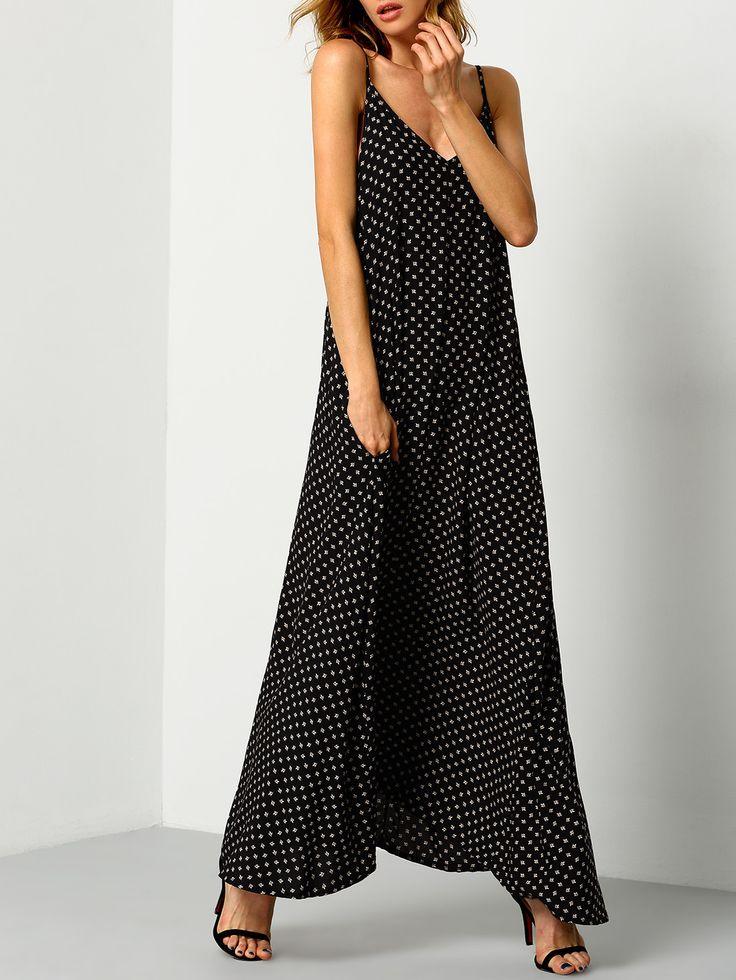 Black+Braces+Deep+V+Neck+Floral+Houndstooth+Print+Cami+Slip+Dress+21.90