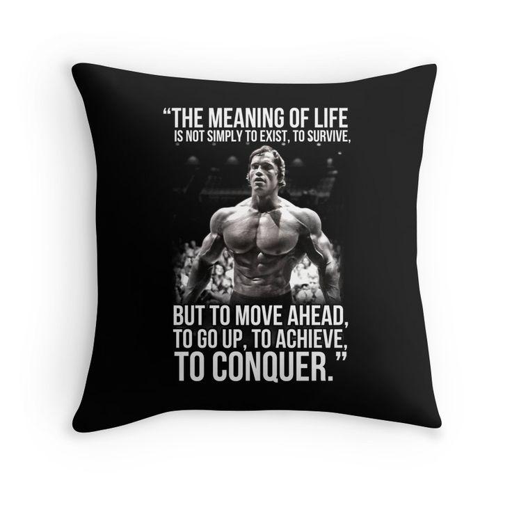 'Arnold Schwarzenegger Arnie Conquer Quote' Throw Pillow