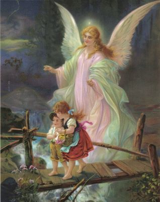 Remember this picture of an angel watching over the children crossing a bridge? I think everyone had this wonderful picture at some point while growing up. I still have it on the wall.