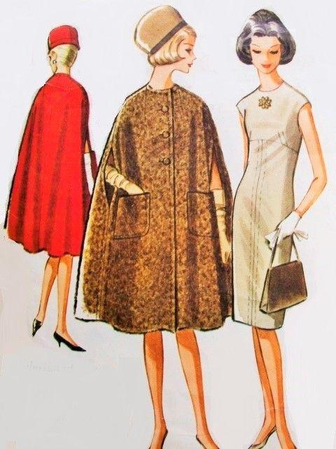 1960s Pauline Trigere Elegant Slim Dress and Cape Coat Pattern McCalls 7063 Stunning Jewel Neckline Empire Dress Daytime or Evening Bust 32 Vintage Sewing Pattern
