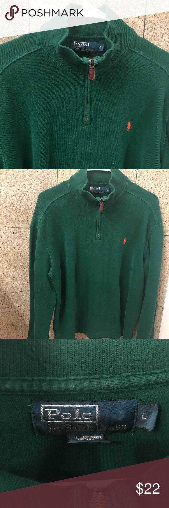 Men's Polo pullover Men's size large Polo Pullover. Emerald green polo with orange polo accent. Polo by Ralph Lauren Sweaters Zip Up