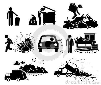 Rubbish Trash Garbage Waste Dump Site Cliparts Icons