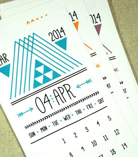Typography Calendar Download : Lines triangles arrows printable desk calendar instant