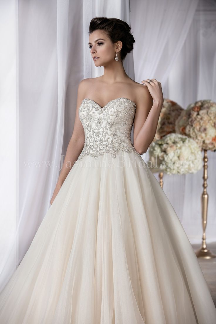 T182062 Sweetheart Strapless Organza Wedding Dress with Beading