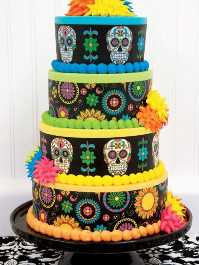 Day of the Dead Tiered Cake featuring Lucks Dia de los Muertos Designer Prints® decorations.