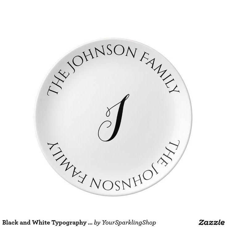 Black and White Typography Custom Monogram J Name #blackwhite #dinnerplate #personalize