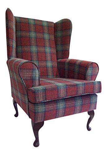 Queen anne style chair in a sun red tartan fabric wing - Queen anne style living room furniture ...