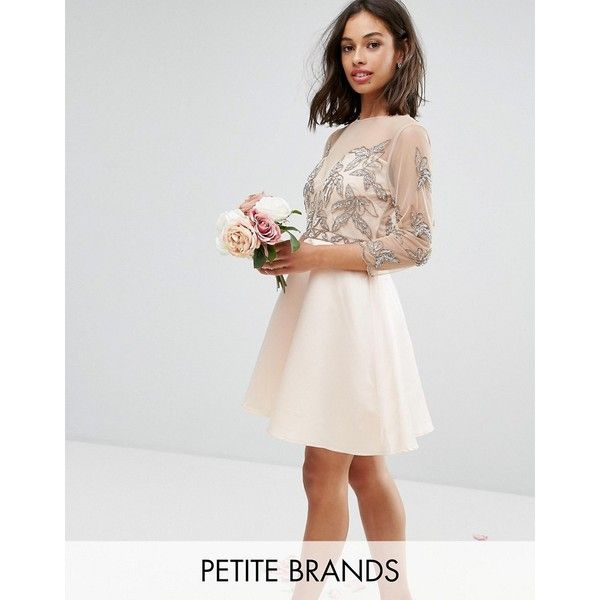 Maya Petite Allover Embellished Mini Prom Skater Dress With Fluted... ($127) ❤ liked on Polyvore featuring dresses, pink, prom dresses, cutout maxi dresses, petite maxi dresses, sleeve maxi dress and petite prom dresses