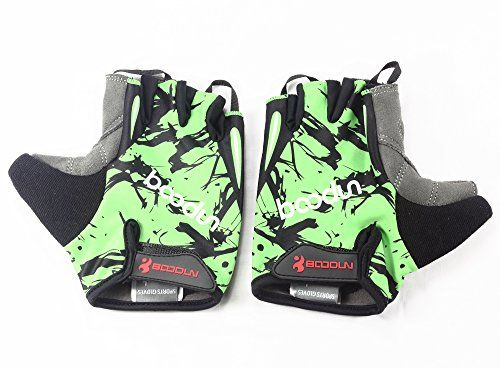 NIUEIMEE Cycling Gloves with ShockAbsorbing Foam Pad Breathable Half Finger Bicycle Riding Bike Gloves Green M >>> See this great product.