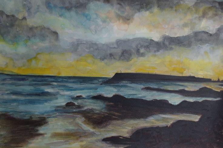 Spiddal Pier Sunset by Fiona Concannon on ArtClick.ie Irish Seascape Watercolour Art Galway