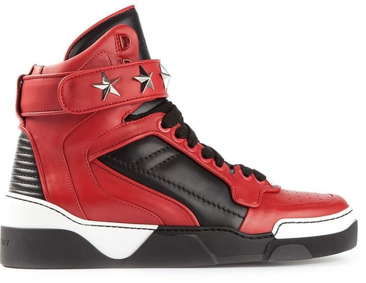 $995, Givenchy Tyson Hi Top Sneakers. Sold by farfetch.com. Click for more info: https://lookastic.com/men/shop_items/68759/redirect