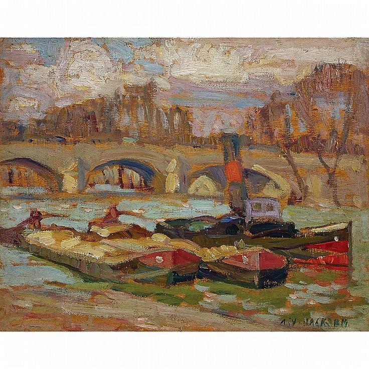 A.Y. Jackson - Pont Royal Paris 8.5 x 10.5 Oil on panel