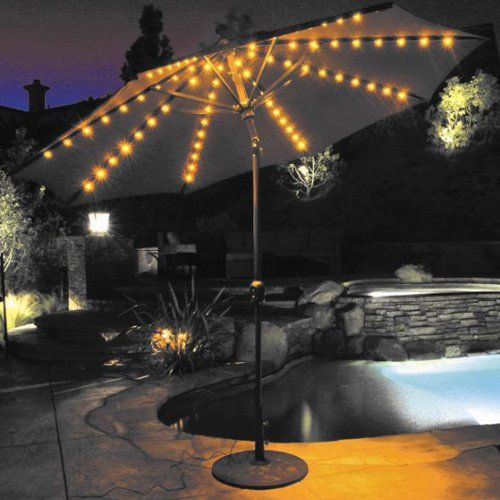 Patio Umbrella: Galtech 9 Ft. Aluminum Auto Tilt Patio Umbrella With  Umbrella Lights