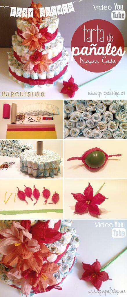 Tarta de pañales decorada con flores de papel   http://papelisimo.es/tarta-de-panales-decorada-con-flores-de-papel/