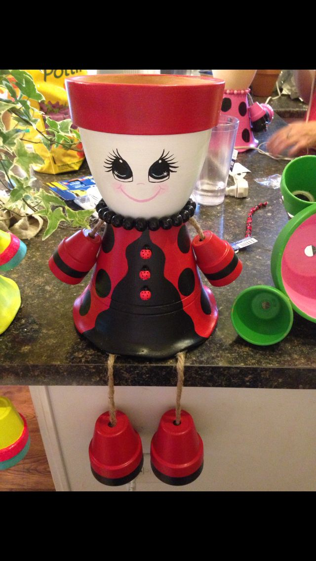 Lady bug flower pot